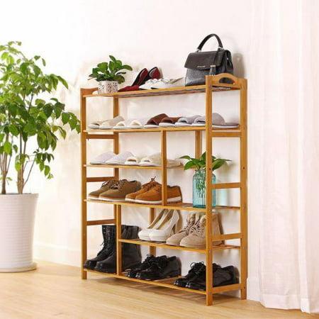 Ktaxon 6 Tier Bamboo Shoe Rack Entryway Shoe Shelf Holder Storage Organizer Bamboo Ring Top Tier