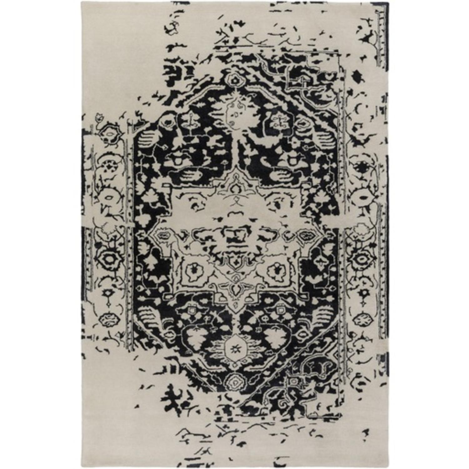 6' x 9' Graceful Elegance Caviar Black and Ivory Hand Tufted Area Throw Rug