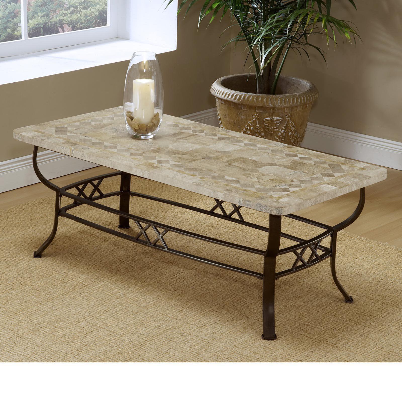 Brookside Fossil Stone Coffee Table Walmart