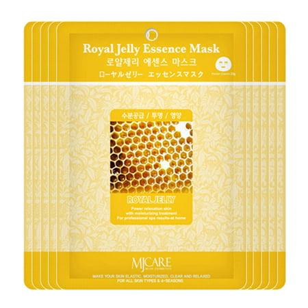 The Elixir Beauty Nature Premium Essence Facial Mask Pack Sheet 23g, Royal Jelly Mask Sheet Korean Cosmetic (10 Packs)