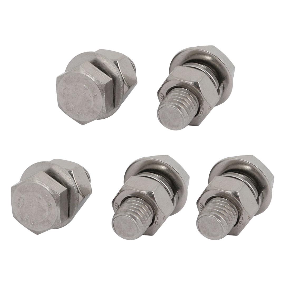 5 Set M6x50mm vis T/ête Hex acier Inox 316 Kit Assortiment /Écrou rondelle