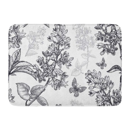 KDAGR Abstract Spring Flowers Floral Pattern Garden Plants Lilac Butterfly Black on Vintage for Oriental Doormat Floor Rug Bath Mat 23.6x15.7 inch ()