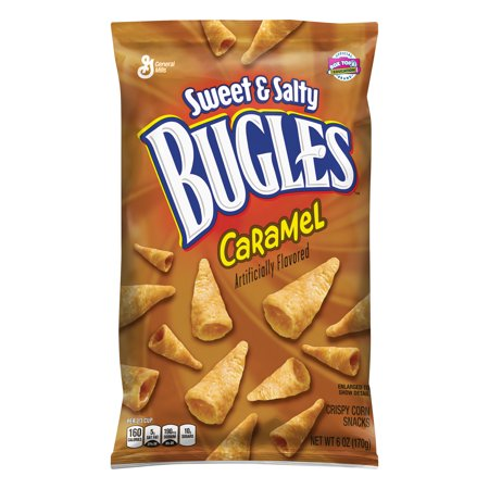 (4 Pack) Bugles Sweet and Salty Caramel Snacks, 6 oz - Halloween Salty Snacks