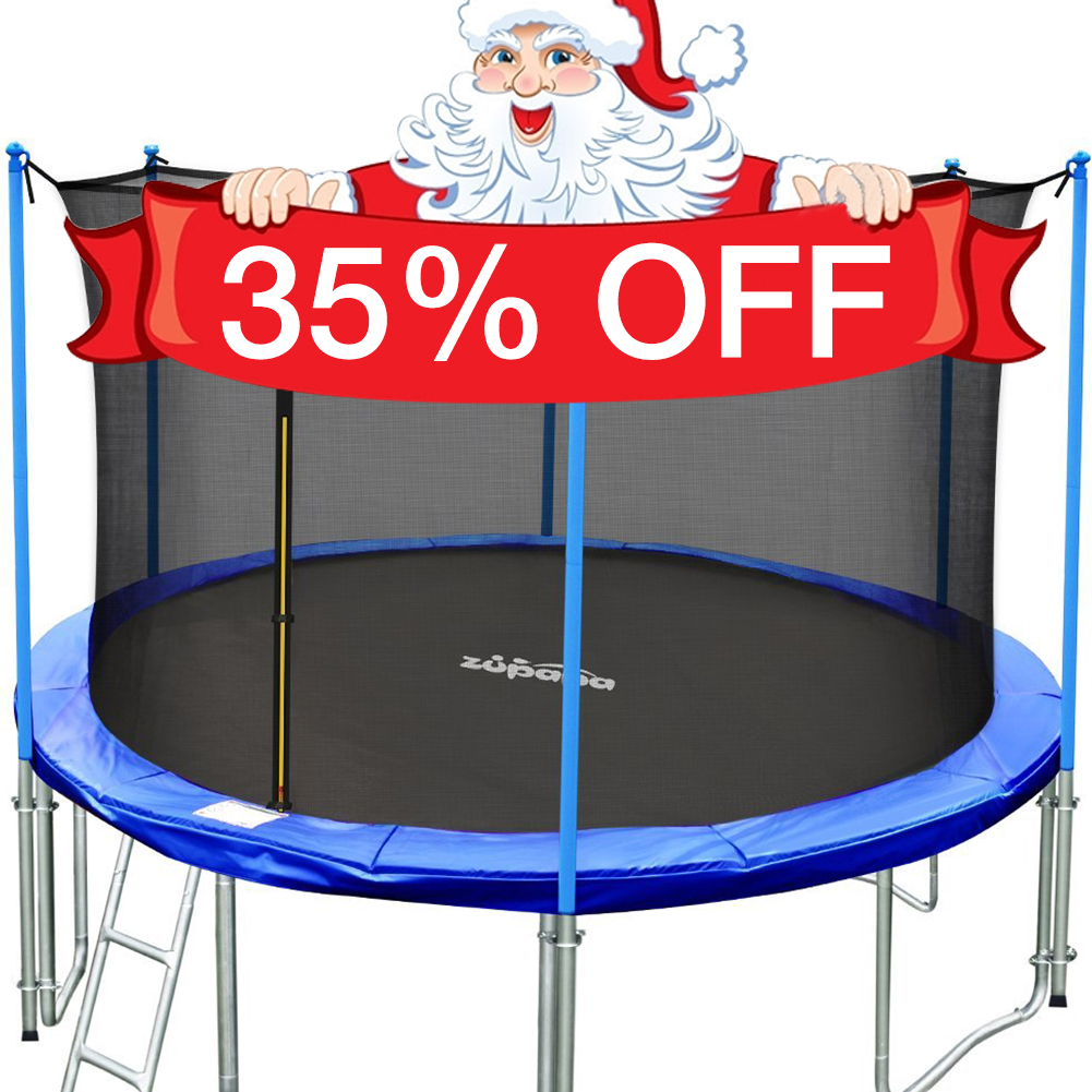 TÜV Approved Zupapa 12' Trampoline with Enclosure, Ladder & Safety Pad Blue Round by
