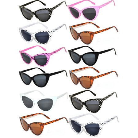 Retro Women's Cat Eye Vintage Sunglasses UV Protection Colored Frame Colored Lens Brand OWL (12 Pack) - Make Your Own Sunglasses