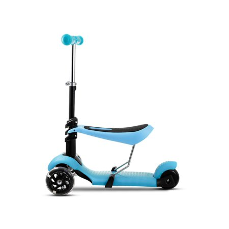 Kids 3 LED Wheels Mini Kick Scooter Children Walkers 3-in-1 Toddler Scooters with Adjustable Handle T-Bar & Seat