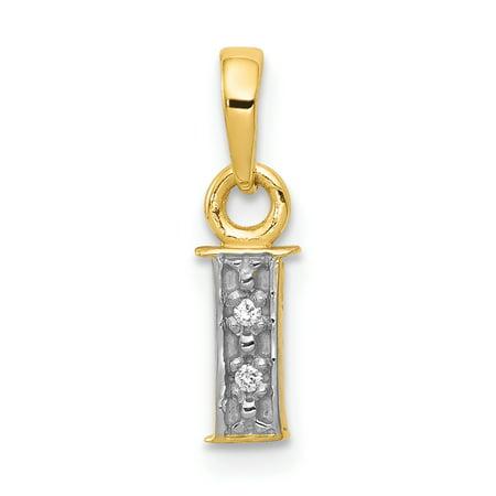 14K Rhodium Plated Yellow Gold & Rhodium Polished .01ct Diamond Initial I Charm - image 2 of 2