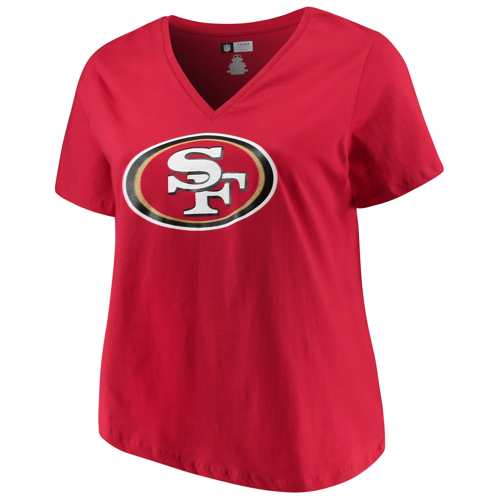 Women's Majestic Scarlet San Francisco 49ers Plus Size Logo V-Neck T-Shirt