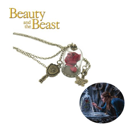 Disney's Beauty and the Beast Necklace Pendant - Rose Under Glass - Classic Moviess Cosplay Jewelry by