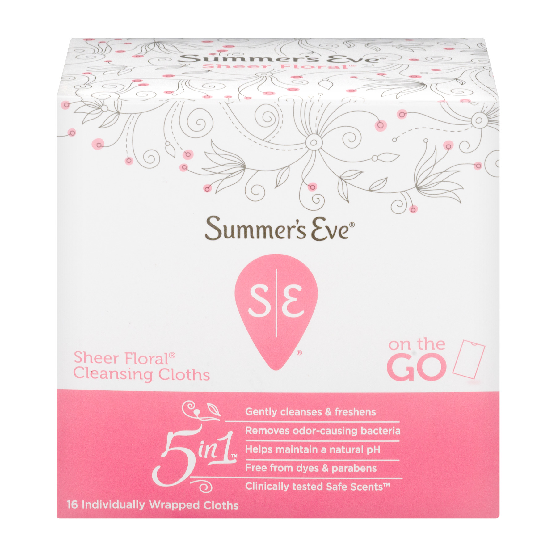 Summer's Eve Cleansing Cloths, Sheer Floral, 16 Ct