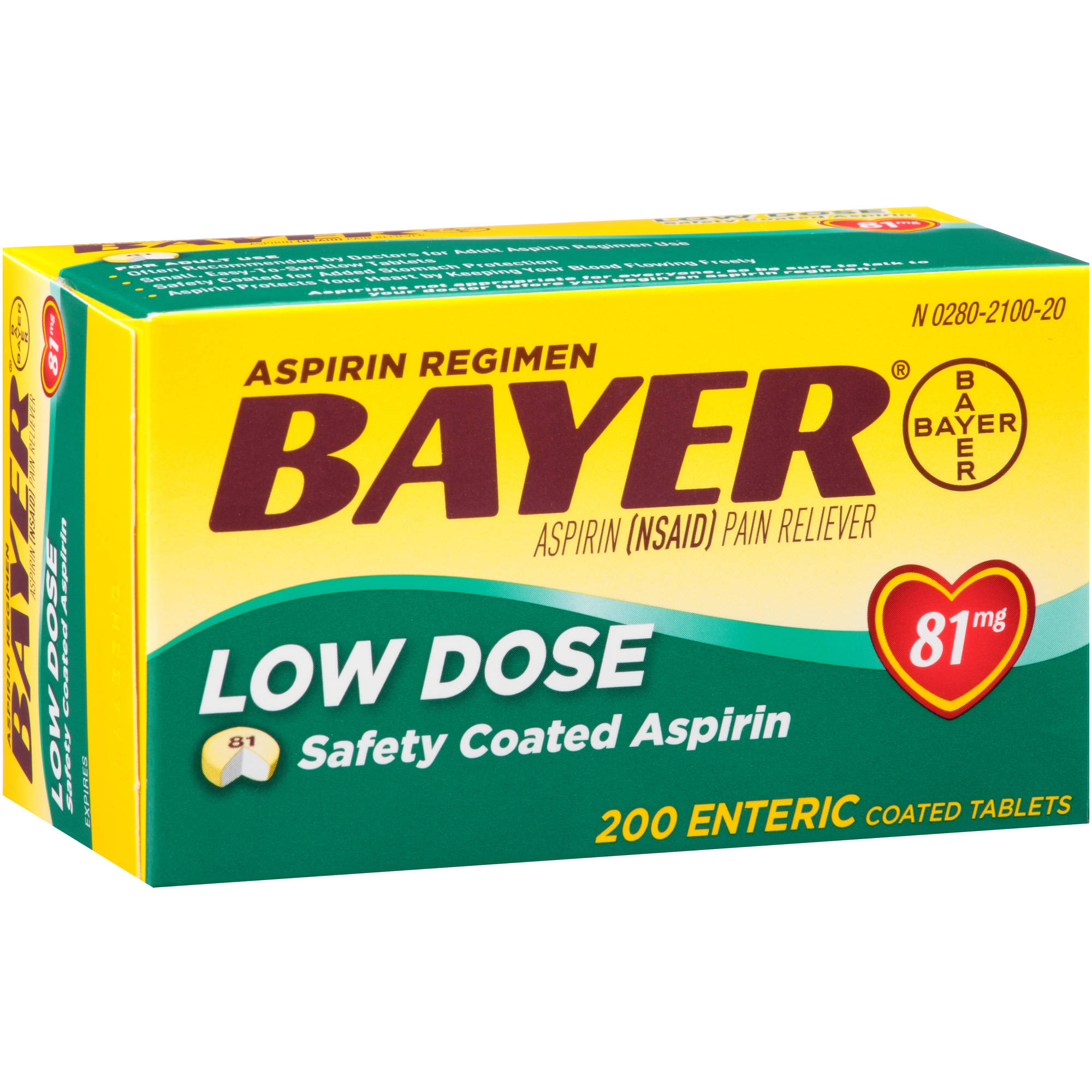 Bayer Low Dose Aspirin Enteric Coated Tablets, 81mg, 200 count