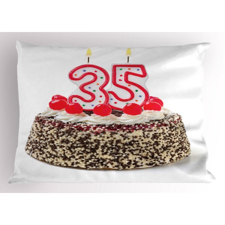 35th Birthday Pillow Sham Gourmet Dessert Cherry Cake Pie for Party Special Day Age Thirthy Five, Decorative Standard Size Printed Pillowcase, 26 X 20 Inches, Red Brown White, by
