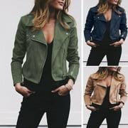 New Womens Ladies Leather Jackets Zip Up Biker Casual Coats Flight Tops Clothes