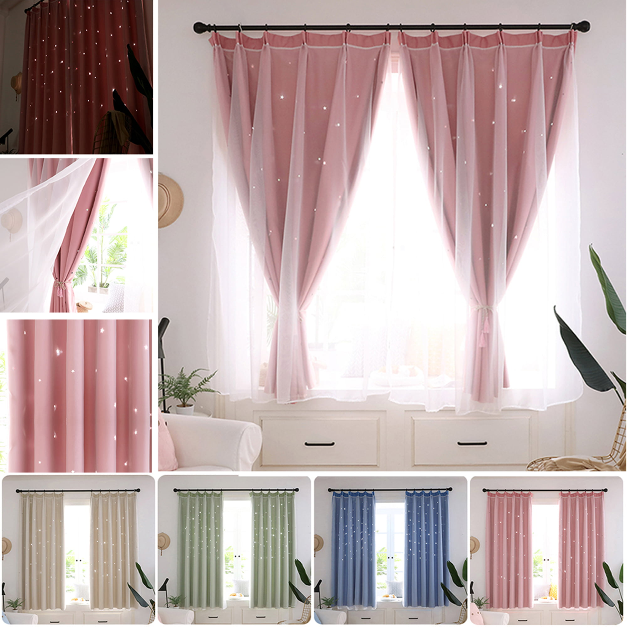 2 Layer Star Tulle+Blackout Curtains Eyelet Fabric Room ...