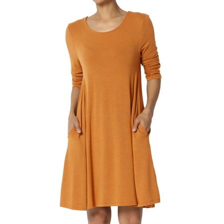 TheMogan Women's S~3XL Basic 3/4 Sleeve Swing Flared Tunic Dress Pocket Long - Dress Up Green Lantern