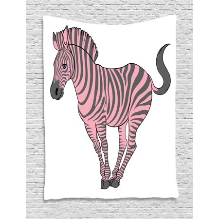 Pink Zebra Tapestry, Naturalistic Baby Zebra in Funny Pose Zoo Wild Horse Kids Childish Theme, Wall Hanging for Bedroom Living Room Dorm Decor, 40W X 60L Inches, Pale Pink Dimgrey, by Ambesonne
