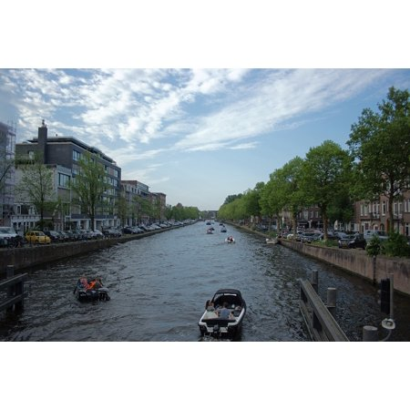 LAMINATED POSTER Water Channel Boat Green Sky Netherlands Blue Poster Print 24 x 36