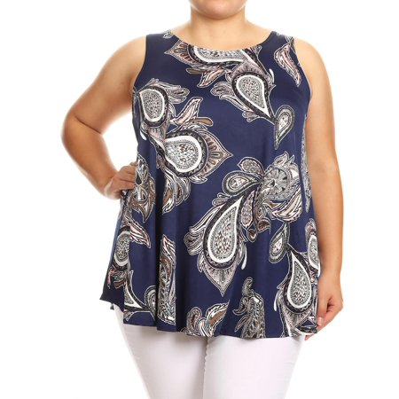 MOA COLLECTION Women's Plus Size Pattern Print Casual Loose Fit Curved Hem Tunic Top Tee/Made in USA ()