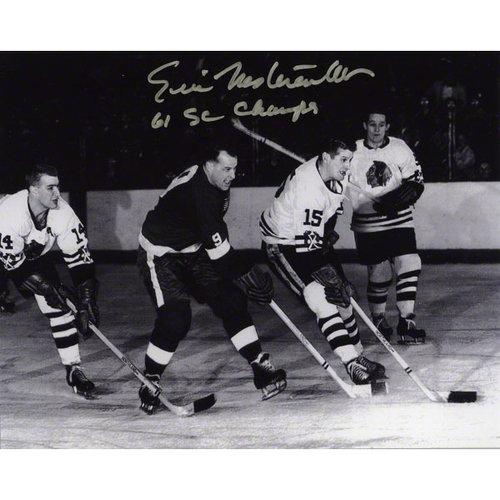 "NHL - Eric Nesterenko Autographed 8x10 Photograph | Details: Chicago Blackhawks, Black and White, with ""61 SC CHAMPS"" Inscription"