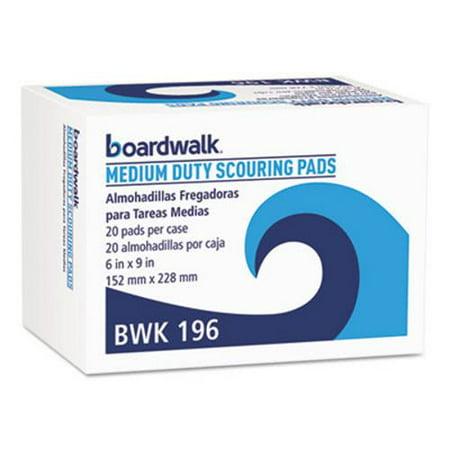 Boardwalk Medium Duty Scour Pads, Green, 6 x 9, 20 Pads (BWK196) Boardwalk 20 Green Green