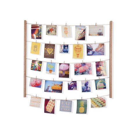 Umbra Hangit Photo Display - DIY Picture Frames Collage Set Includes Picture Hanging Wire Twine Cords, Natural Wood Wall Mounts and Clothespin Clips for Hanging Photos, Prints and Artwork (Natural Maple Frame)