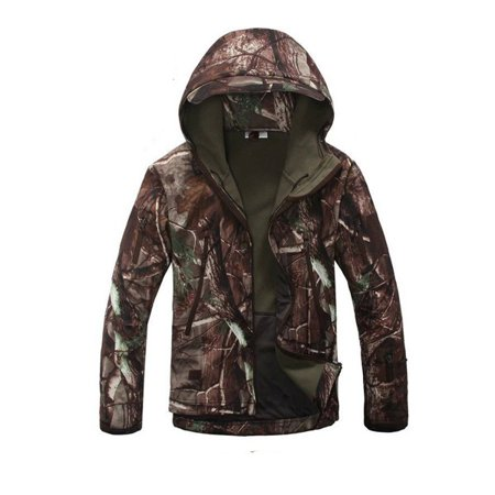 Men Soft-shell Jacket with Hood, Waterproof Windproof Warm Breathable Sport Coat Color:Tree camouflage
