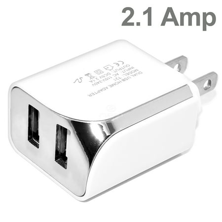 Compatible with ZTE Axon Elite Cell Phones Accessory Kit 2 in 1 Charger Set [2.1 Amp USB Home Charger + 5 Feet Micro USB Cable] White - image 5 de 9
