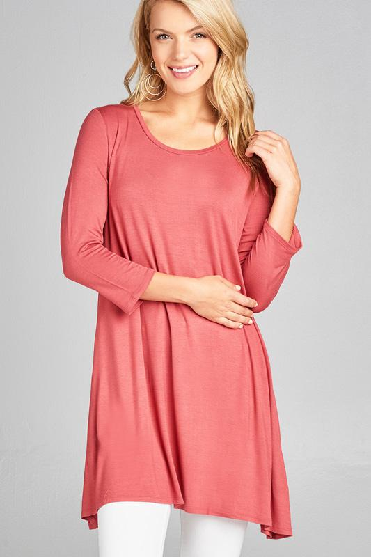 3/4 Sleeve Round Neck Rayon Spandex Jersey Tunic Top Color: Raspberry Pink, Size: Small