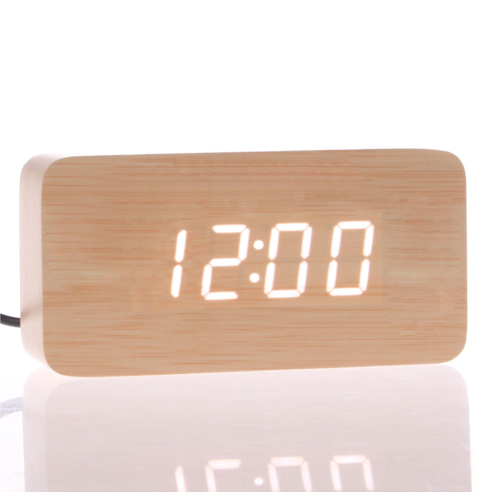 Morden Wooden Wood Digital LED Desk Alarm Clock Thermometer Timer Calendar(Bamboo) by
