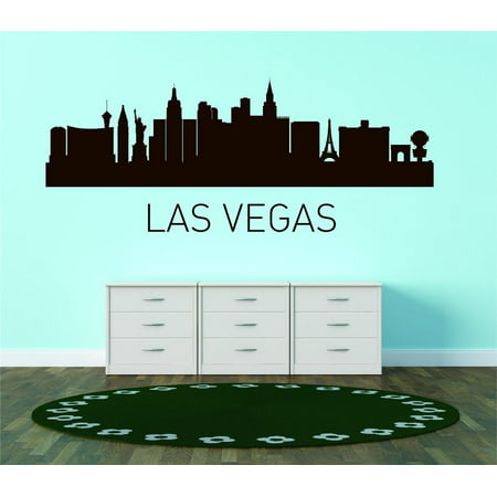 Custom City Wall Map - Custom Wall Decal Las Vegas United States Major City Geographical Map Landmark - Vinyl Wall - 15x45