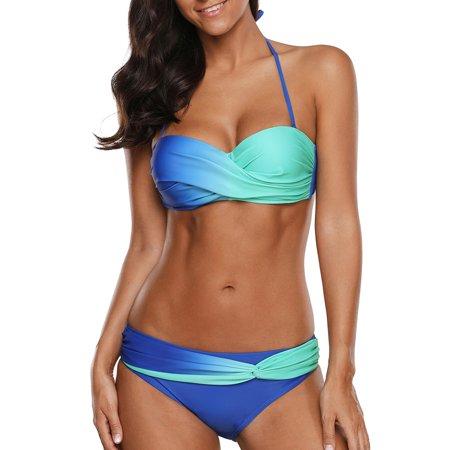 Women Halter Color Block Twist Bandeau Push Up Bikini Set Two Pieces -