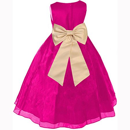 Ekidsbridal Fuchsia Formal Satin Bodice Organza Skirt Flower Girl Dress Pageant Wedding Special Occasion Holiday Easter Toddler Ball Gown Recital Reception Birthday Princess (Satin Ball Gown With Ruffled Organza Underlay)