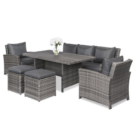 Best Choice Products 6-Piece Modular Wicker Patio Dining Sofa Set with 7 Seats, Cushions,