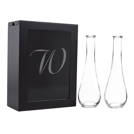 Sand Ceremony Shadow Box Set, Letter W, Black, Set Includes Large shadow box, Custom engraved glass insert, Two pouring vases By Cathy's Concepts It comes to you in New and Fresh state A top trending alternative for the traditional unity candle, the Unity Sand Ceremony Shadow Box Set comes complete with two pouring vases, an easy to open shadow box and personalized glass insert. Sand not included. What you see is what you will get