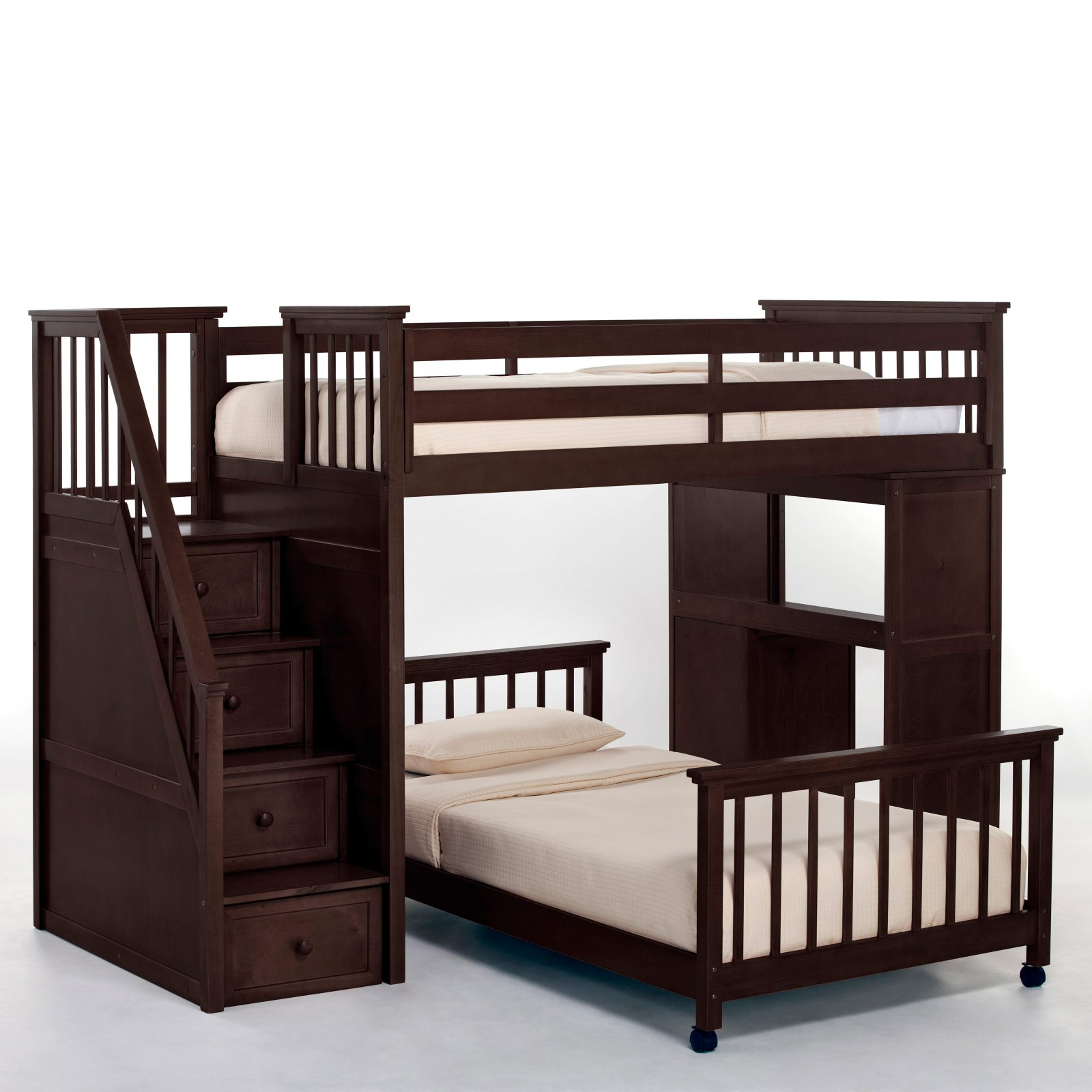 Hillsdale School House Twin Stair Loft With Desk End & Full Lower Bed, Chocolate