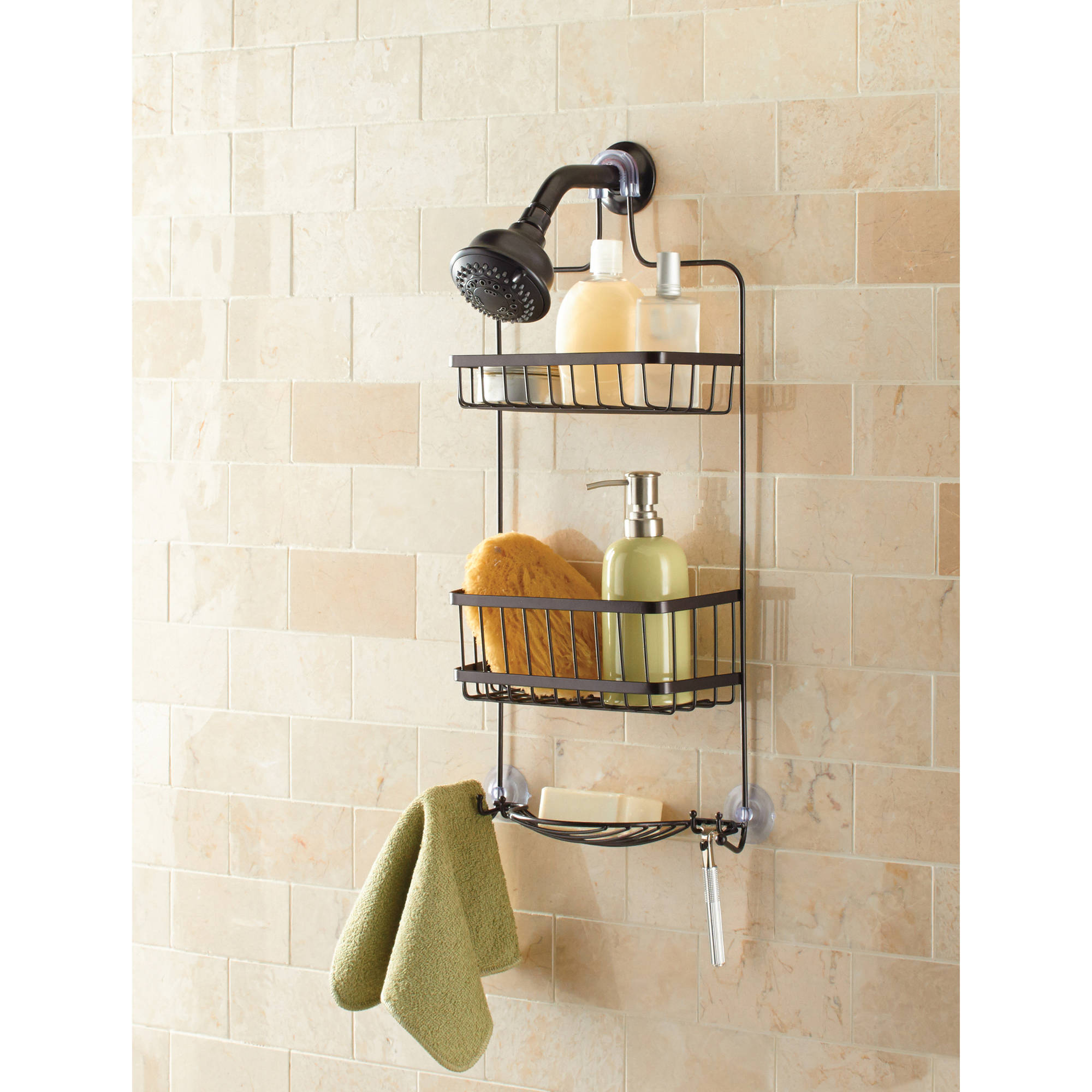 Mainstays Premium Over the Shower Caddy, Bronze