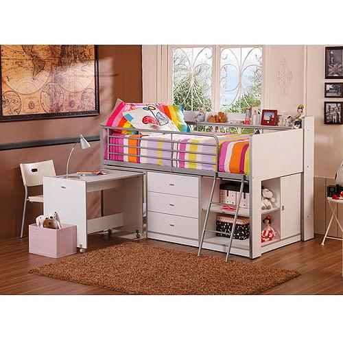 Savannah Storage Loft Bed With Desk White Walmart Com