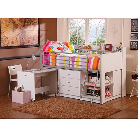 Savannah Storage Loft Bed with Desk, White