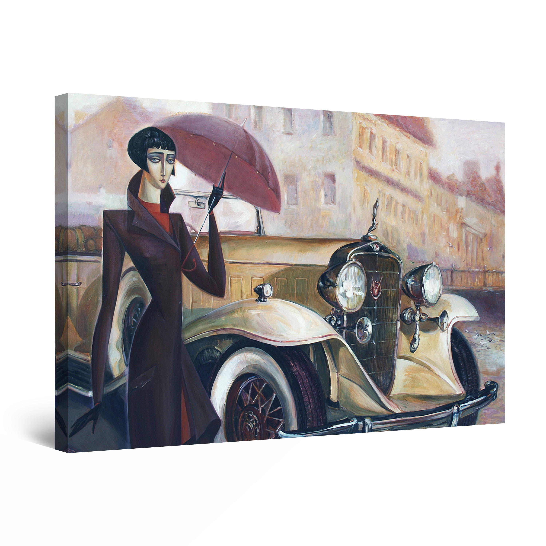 ELEGANT LADY RETRO VINTAGE CLASSIC CAR CANVAS PRINT WALL ART PICTURE