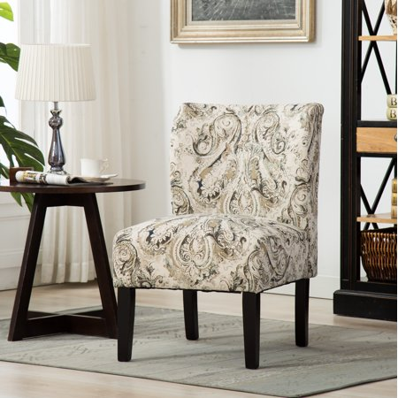 Roundhill Capa Print Fabric Armless Contemporary Accent Chair, Paisley
