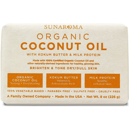 Sunaroma Organic Coconut Oil Soap 8 oz