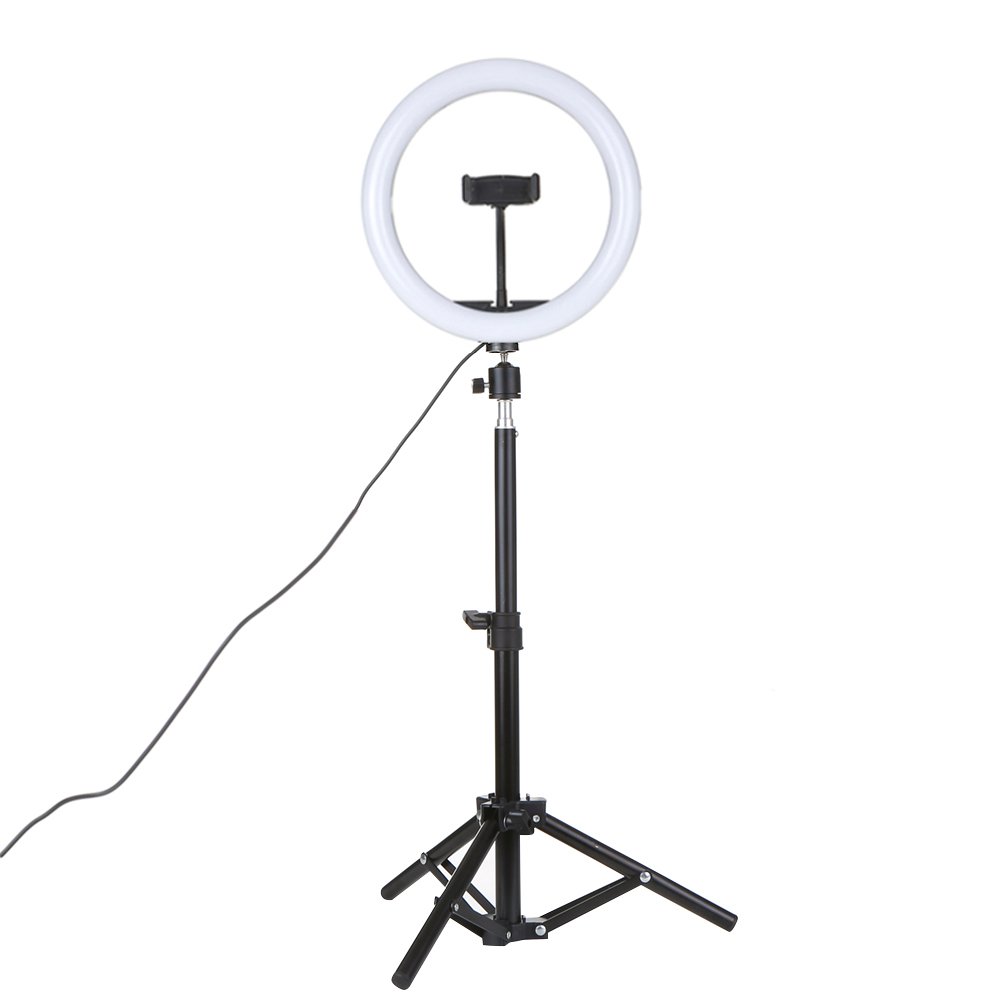 Lixada DC5V 7W LED Light Round Selfie Camera Lamp with Mini Tripod USB Powered Operated 10 Levels Adjustable Brightness Dimmable// 360/° Rotatable Illumination Angle for Live Show Taking Pictures