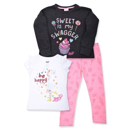 Jojo Siwa Graphic Sweatshirt, T-Shirts, And Legging, 3-Piece Outfit Set (Little - Girls Shopping Site