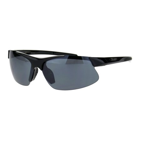 Xloop Mens Baseball Half Rim Warp Around Sport Plastic Sunglasses All Black