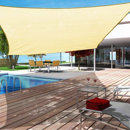 Rectangle Sun Sail Canopy 8` x 10` Heavy Duty Shade Outdoor Patio Cover UV Block Sunshade Fabric Awning Shelter For Patio Outdoor Garden Light Beige 2.5x3 Meter ()