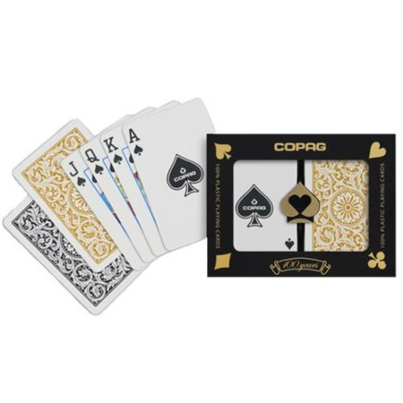 - Bridge Size Regular Index 1546 Playing Cards (Black Gold Setup), 100% PVC plastic, these cards will last for years outlasting paper cards up to 500.., By Copag