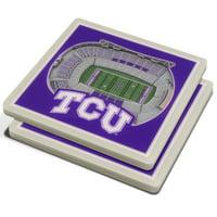 TCU Horned Frogs 3D StadiumViews Coasters - Purple - No Size