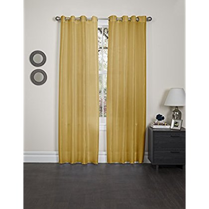 Holly Faux Silk Window Curtain Panel, 57X90, 2 Pack, Mustard