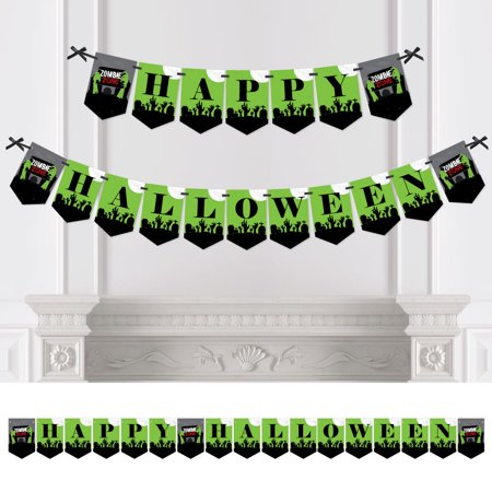 Zombie Zone - Halloween Zombie Crawl Party Bunting Banner - Party Decorations - Happy - Zombie Party Supplies