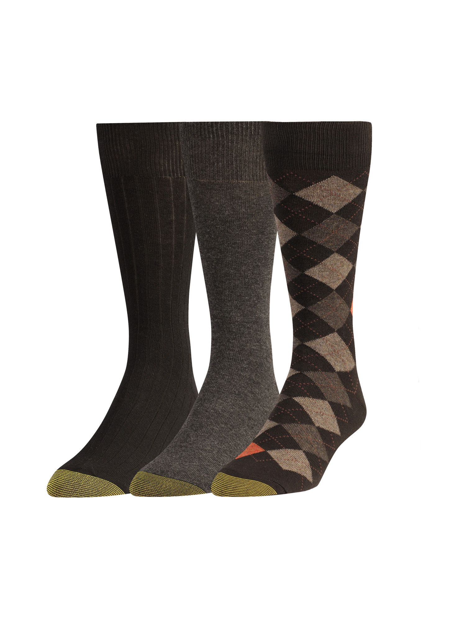 Gold Toe Men's Argyle, Flat Knit and Ribbed Crew Socks, 3 Pairs